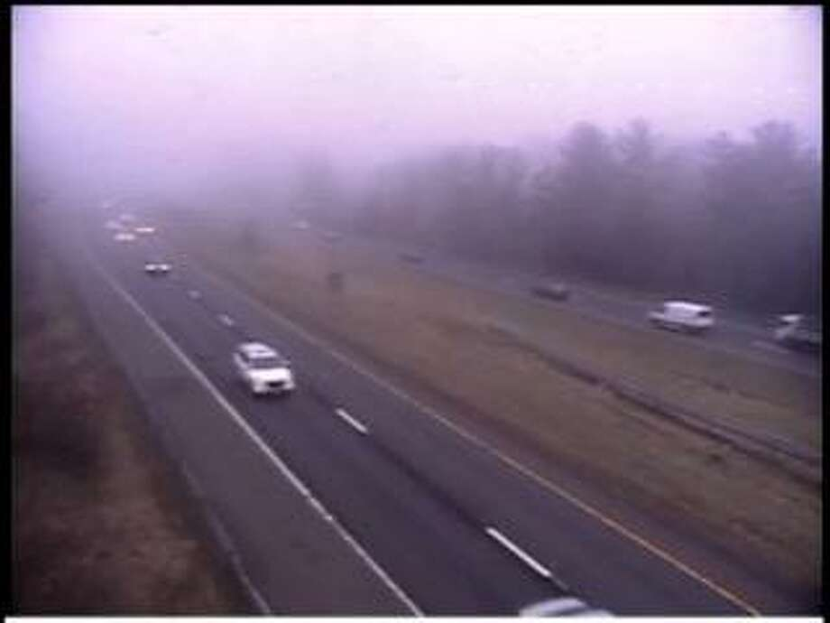 Dense fog over I-84 in Newtown on Tuesday, April 9, 2019. Photo: /