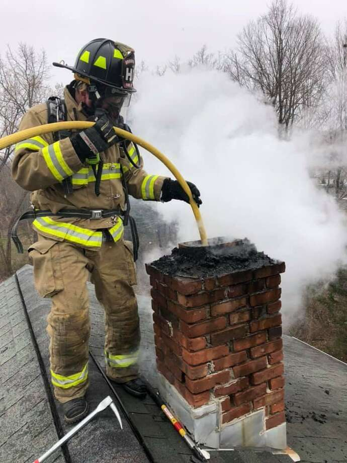 Firefighters respond to a chimney fire on April 5, 2019, in Brookfield. Photo: Brookfield Volunteer Fire Company