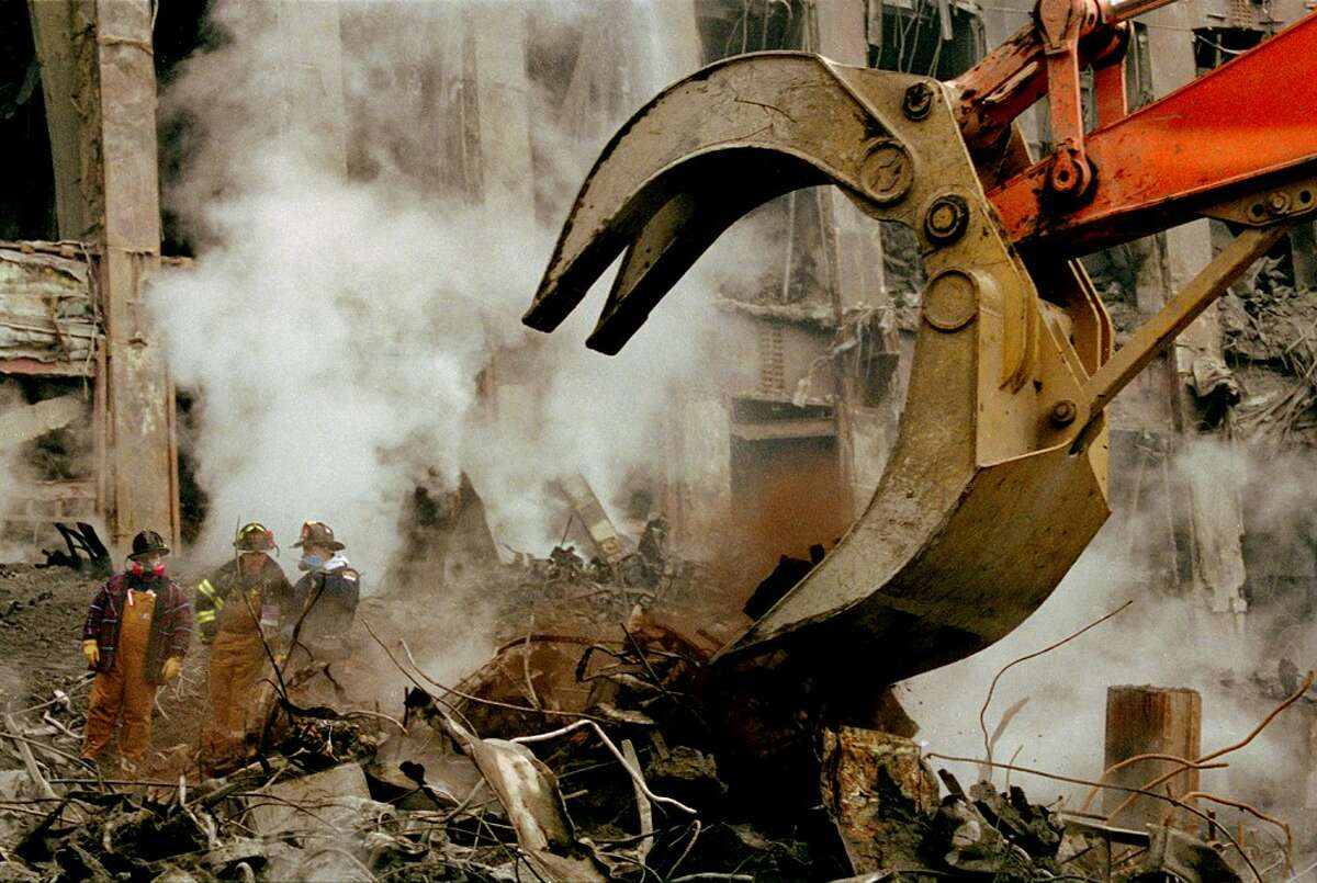Ground Zero workers on the rubble pile.