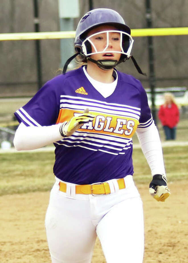 CM's Ally Hardy, shown circling the bases on a home run earlier this season at the Bethalto Sports Complex, hit a grand slam in the first inning Monday to propel the Eagles past Triad in a MVC softball game. Photo: Greg Shashack / The Telegraph