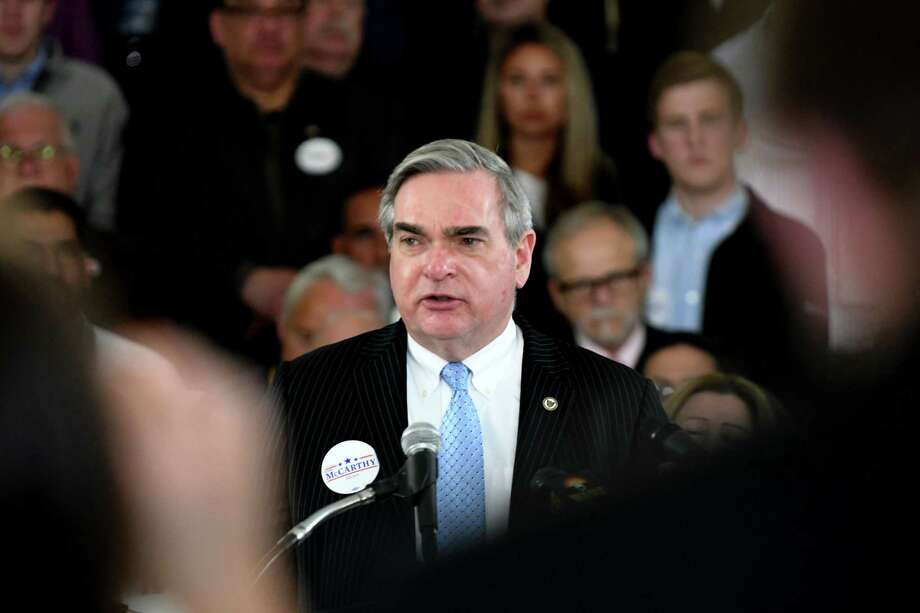 Schenectady Mayor Gary McCarthy announces his run for a third term on Tuesday, April 9, 2019, during an event at City Hall in Schenectady, N.Y.  (Will Waldron/Times Union) Photo: Will Waldron, Albany Times Union / 40046630A