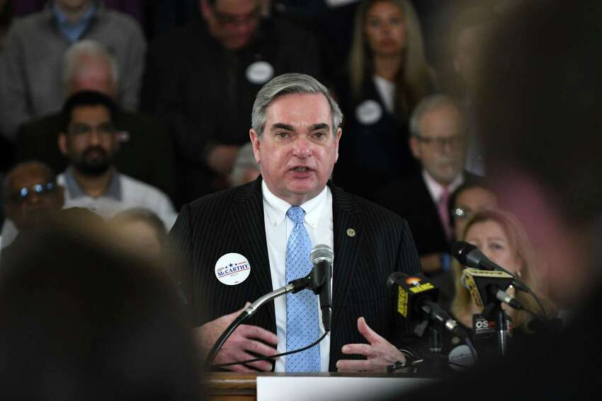 Schenectady Mayor Gary McCarthy announces his run for a third term on Tuesday, April 9, 2019, during an event at City Hall in Schenectady, N.Y. (Will Waldron/Times Union)
