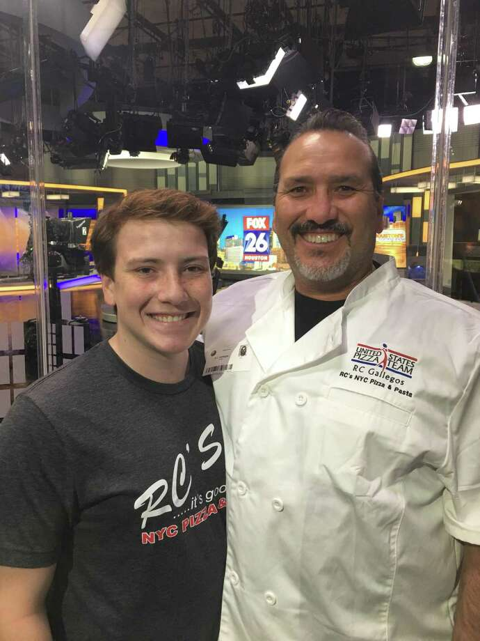 RC Gallegos, right, with his son, Kennedy, participating in a segment for the local Fox affiliate. Gallegos is the owner of three RC's NYC Pizza locations in Porter, The Woodlands in Kingwood. Gallegos is also a part of the United States Pizza Team that is currently competing in Italy this week. Photo: Courtesy Photo