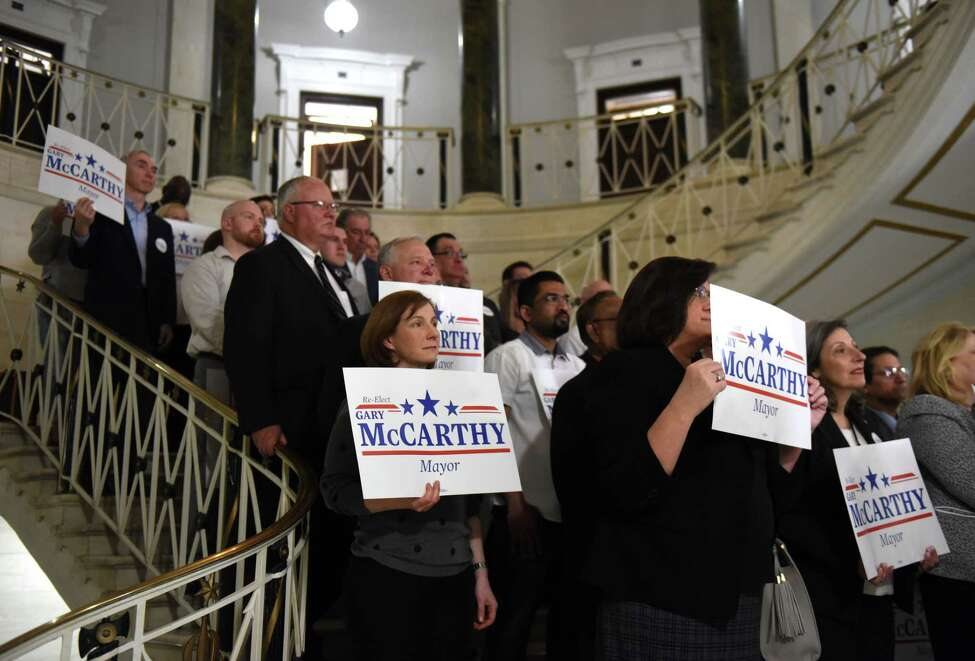 Supporters of Schenectady Mayor Gary McCarthy join him at City Hall as he announces his run for a third term on Tuesday, April 9, 2019, in Schenectady, N.Y. (Will Waldron/Times Union)