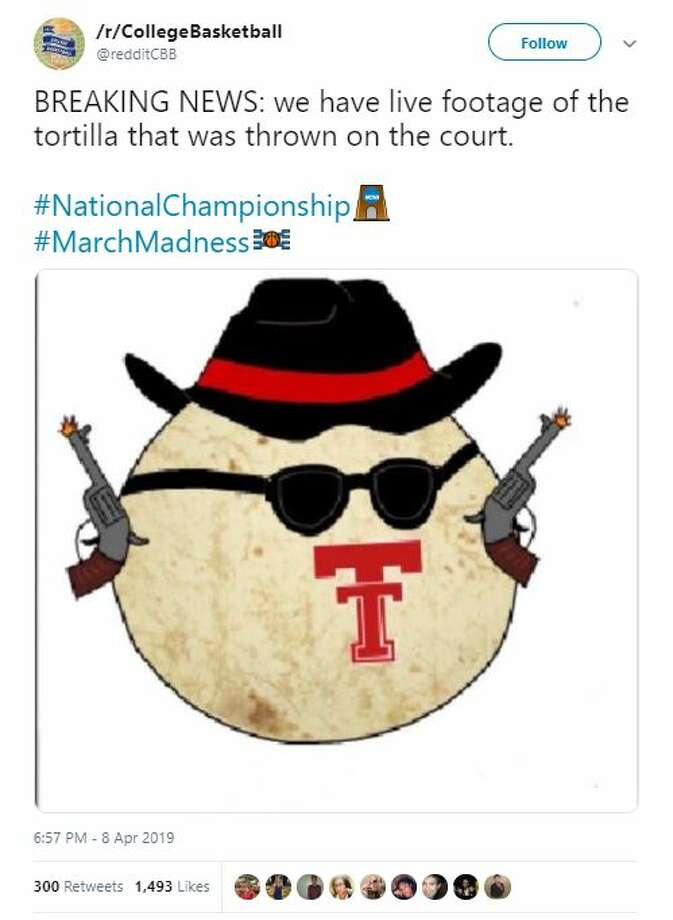 "@redditCBB: ""BREAKING NEWS: we have live footage of the tortilla that was thrown on the court. #National Championship #MarchMadness"" Photo: @redditCBB/ Twitter"