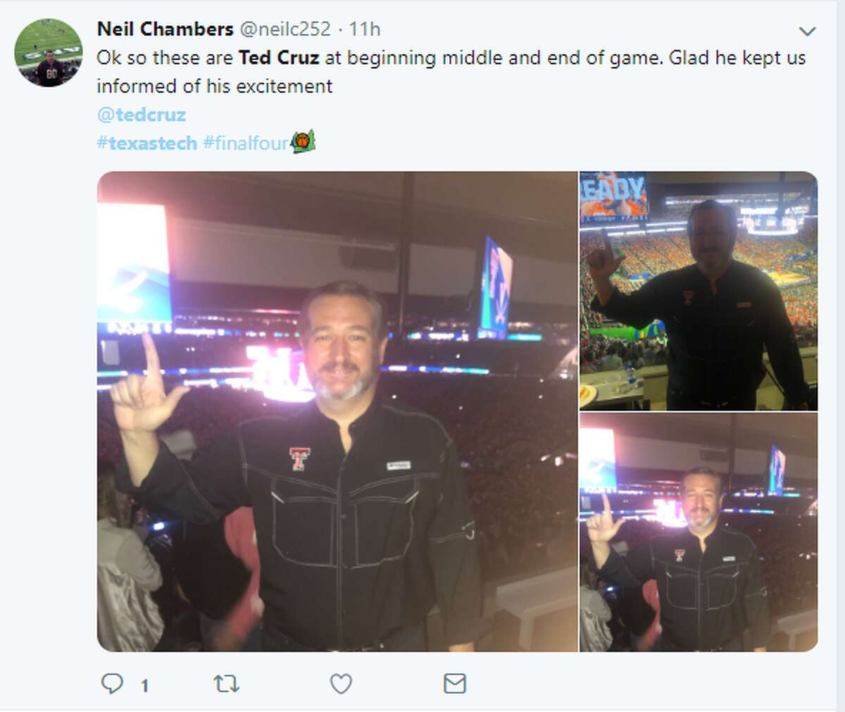 So these are Ted Cruz at the beginning middle and end of the game. Glad he kept us informed of his excitement. @tedcruz #texastech #finalfour Twitter account:@neilc252