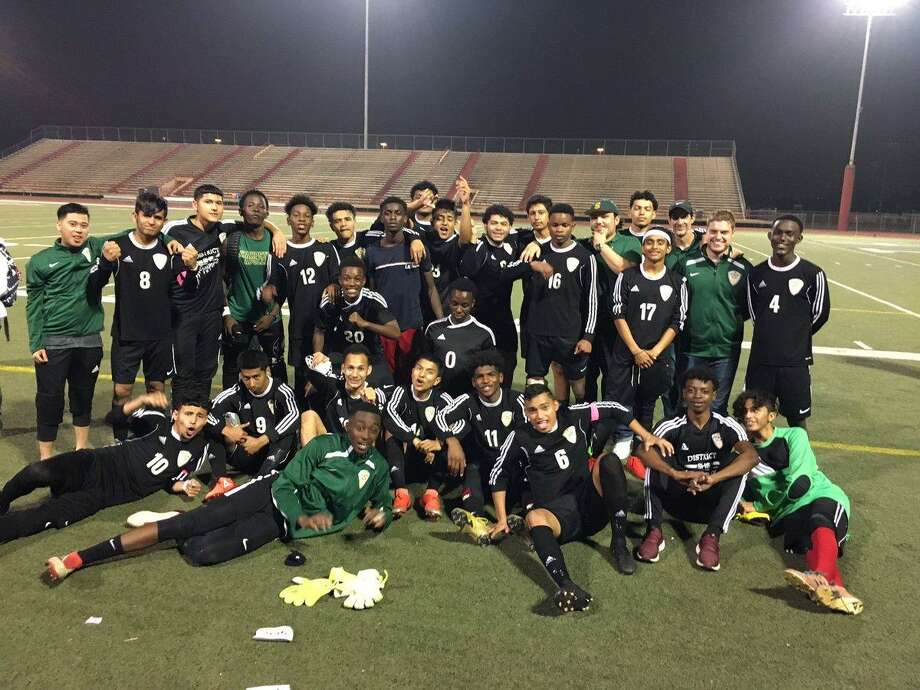 The Sharpstown boys soccer team defeated Texas City 1-0 to advance to its second Region III-5A tournament in three years. The Apollos improved to 19-2-2. Photo: Sharpstown High School / Sharpstown High School