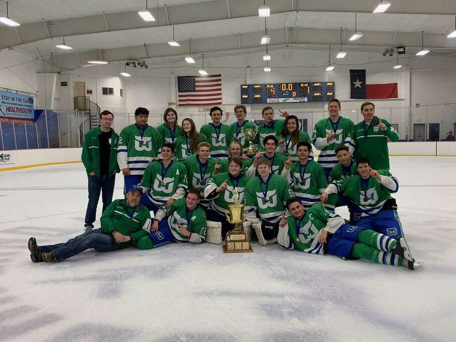 The Memorial West Whalers hockey club won its first Interscholastic Hockey League championship, defeating Cy Woods 4-1 in the Justice Cup Final, March 24 at the Sugar Land Ice and Sports Center. The Whalers finished 18-5-2 overall. Photo: Memorial West Whalers / Memorial West Whalers