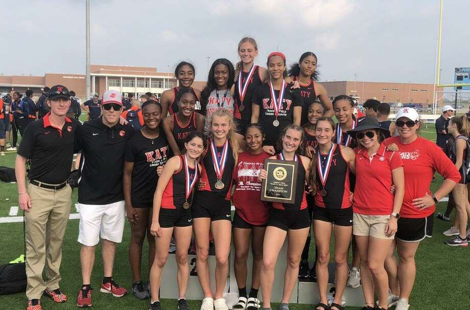 The Katy girls track and field team won the District 19-6A championship April 5 at Paetow High School, scoring 147 points to edge Seven Lakes by one. The top four in each event advanced to the area meet. Photo: Katy ISD Athletics / Katy ISD Athletics