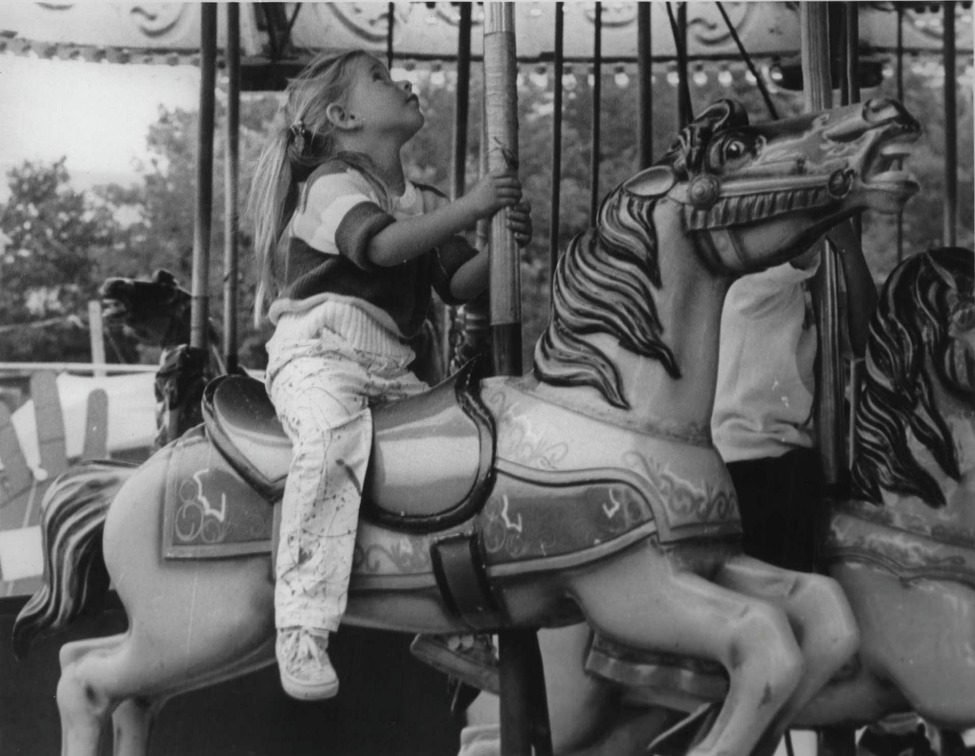 145th Annual Columbia County Fair, Chatham, New York - Morgan B. Weiner 3 1/2 years, Chatham, on merry-go-round. August 30, 1985 (Bob Richey/Times Union Archive)