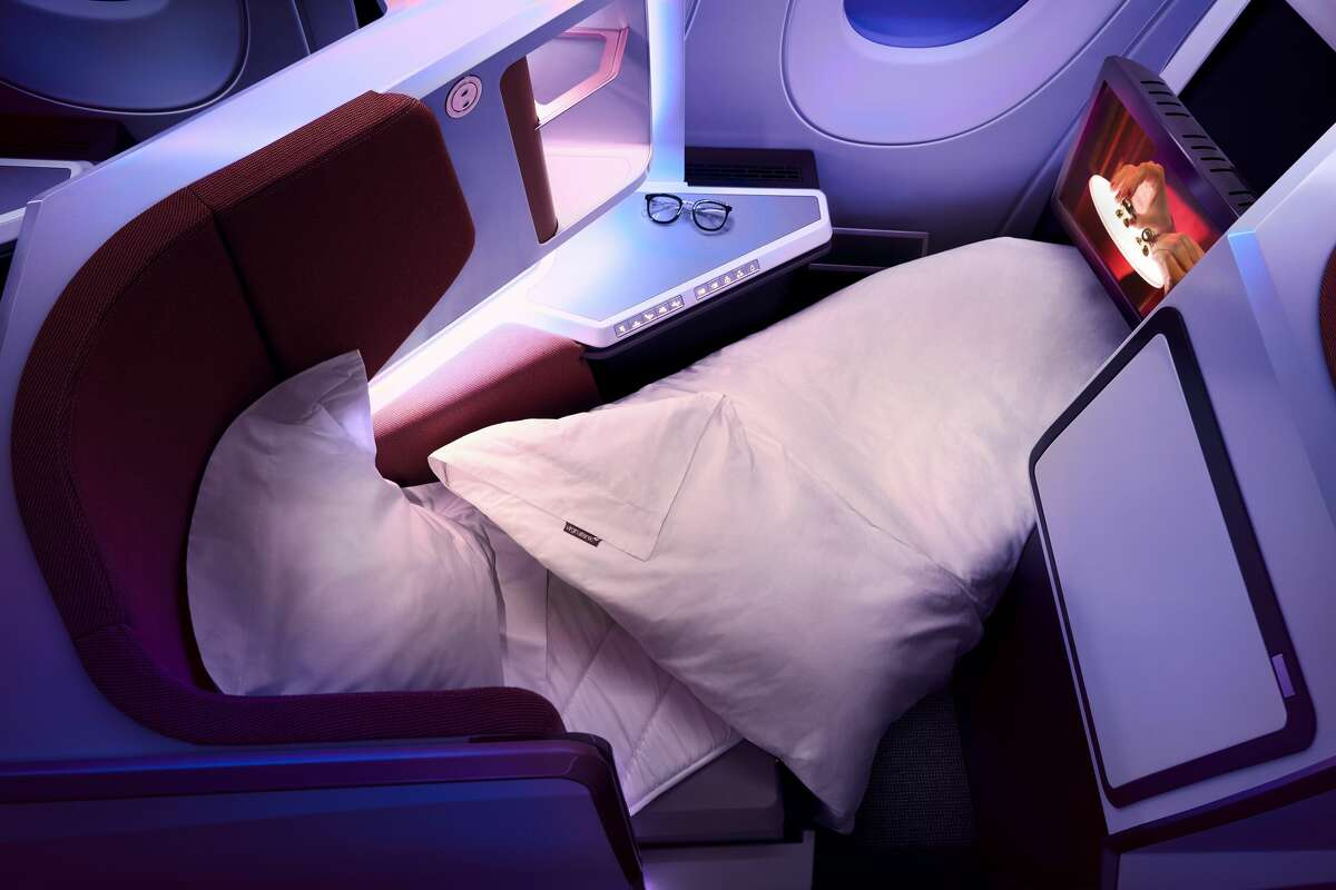Virgin Atlantic's new lie-flat business class seat on its A350 reclines instead of folding over on its other aircraft