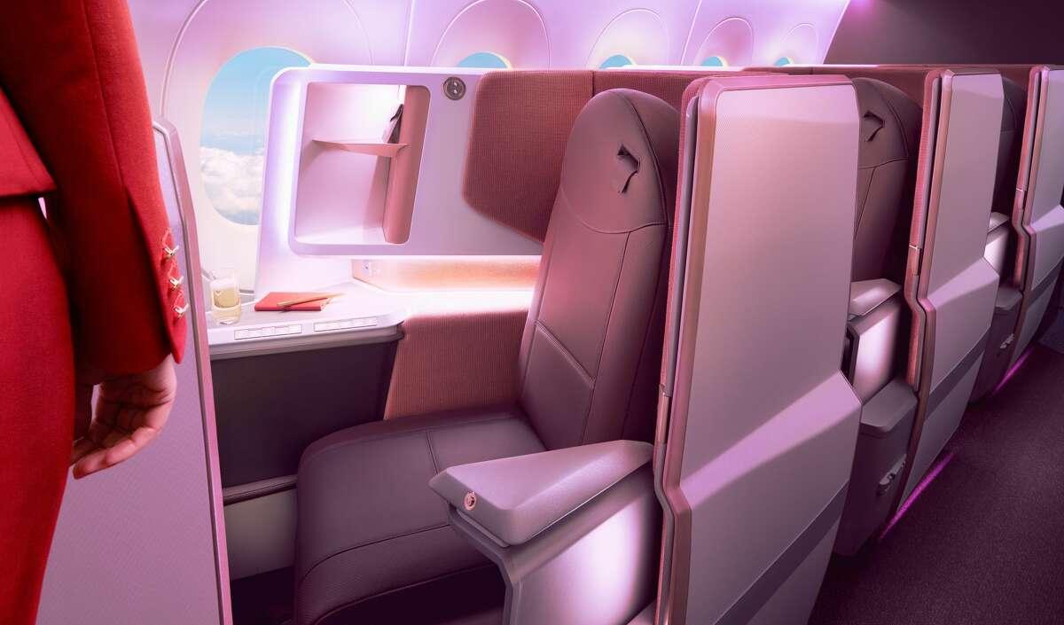All business class window seat angle toward the window in Virgin Atlantic's new A350