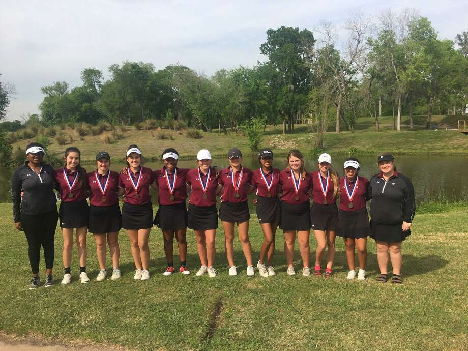 The Pearland Lady Oiler golf team will compete in the Region III-6A tournament April 23-24 in Mont Belvieu. Team members are (left to right) Makenzie Jeffery, Kaylah Angel, Bailey Rucker, Alexis Guerra, Kendall Jackson, Addie Poulin, Juliana Hudman, Logan Vaughn, Lindsey Diehl, Caitlyn Evans, Alexa Vela and Ariel Perry. Photo: Submitted Photo