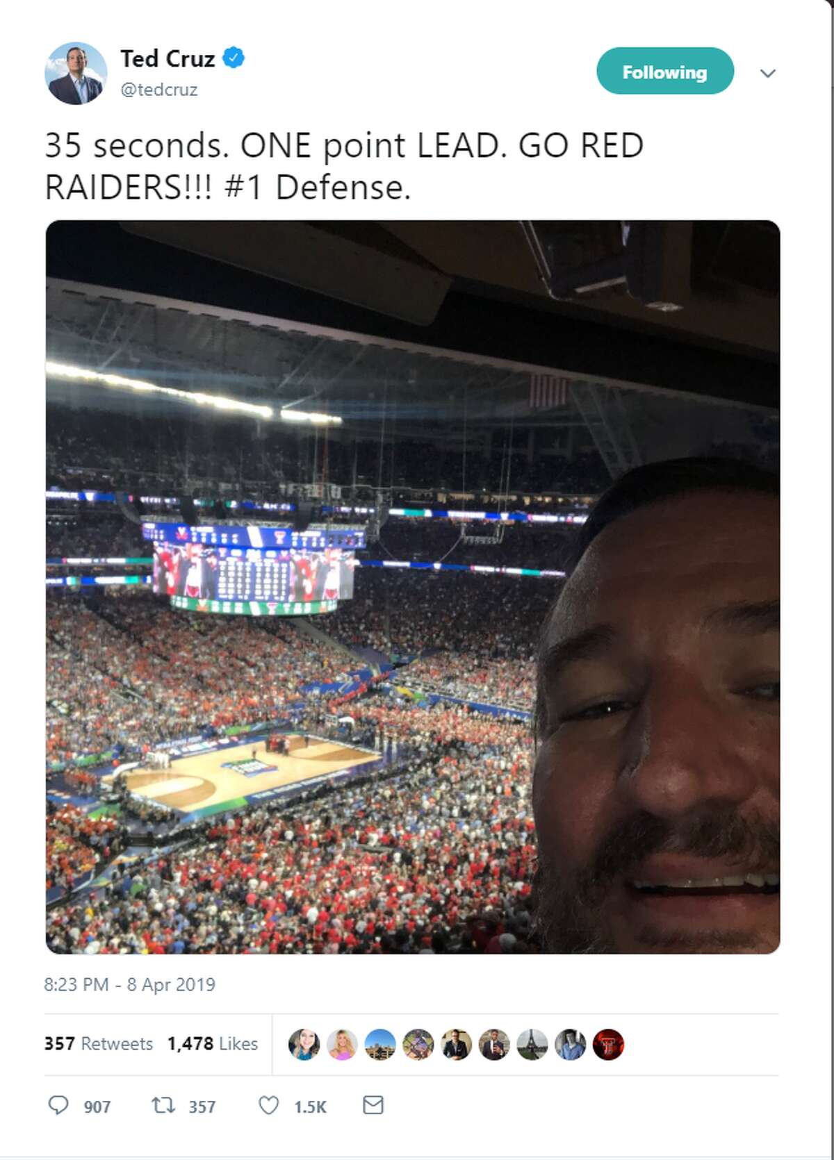 """35 seconds. ONE point LEAD. GO RED RAIDERS!!! #1 Defense. Account: @TedCruz >>>Click through to see fans roast Texas senator Ted Cruz on social media for attending and """"jinxing"""" Texas Tech's 85-77 overtime loss to Virginia in the NCAA Division I Men's Basketball National Championship Game."""