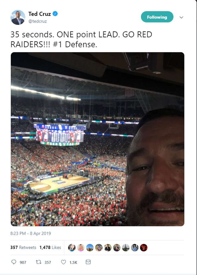 """35 seconds. ONE point LEAD. GO RED RAIDERS!!! #1 Defense. Account: @TedCruz  >>>Click through to see fans roast Texas senator Ted Cruz on social media for attending and """"jinxing"""" Texas Tech's 85-77 overtime loss to Virginia in the NCAA Division I Men's Basketball National Championship Game. Photo: Twitter Screengrab"""