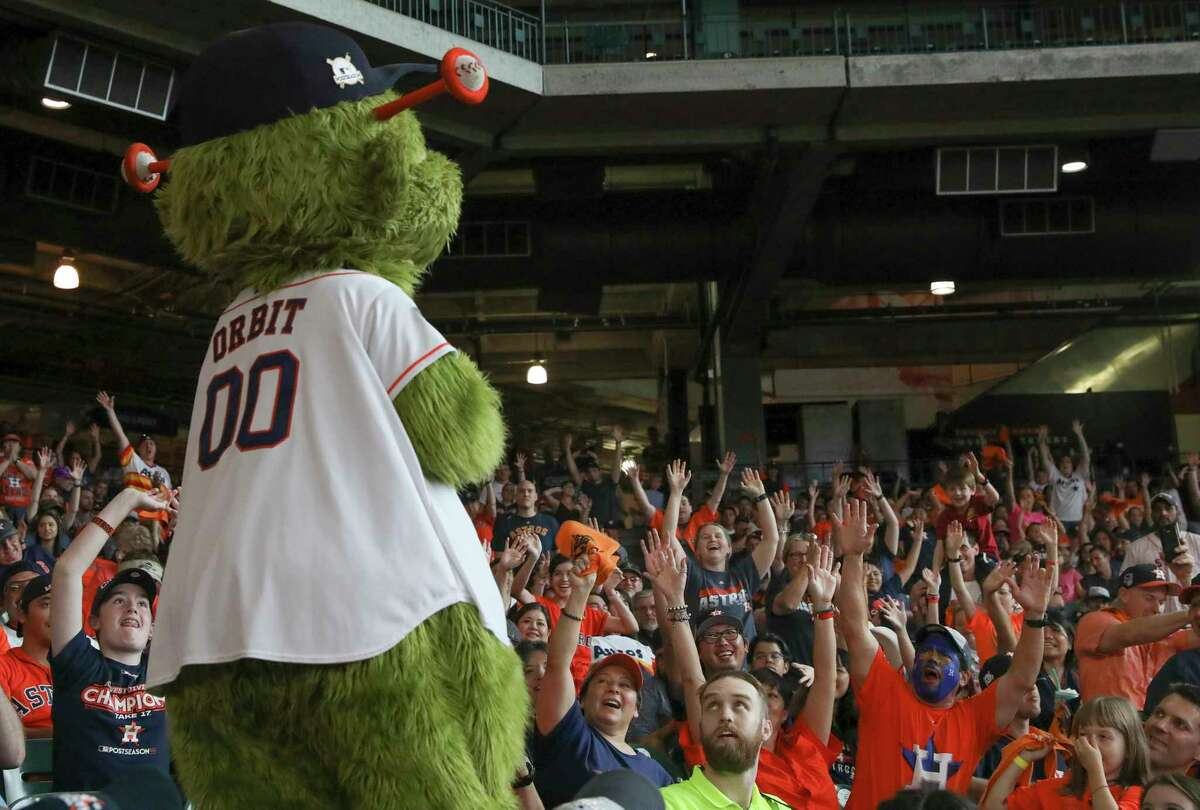 The Astros are being sued by a fan who alleged she was injured after struck by a T-shirt fired into the stands by mascot Orbit.