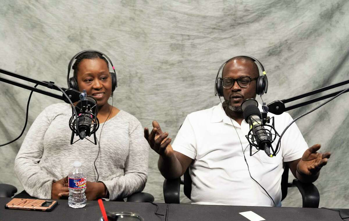 Sherice, left, and Steve Garner, owners of Southern Q BBQ, who just opened their second barbecue restaurant at 411 W. Richey, Houston, recording an episode of BBQ State of Mind.