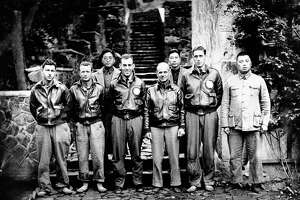 Maj. Gen. James H. Doolittle, his Tokyo bombing crew, and some Chinese friends are pictured in China on April 22, 1943 after the U.S. airmen bailed out following the raid at Japan, April 18, 1942. From left to right are: Staff Sgt. F.A. Braemer, bombardier, Seattle; Sgt. P.J. Leonard, engineer-gunner, Denver; unidentified Chinese; First Lt. R.E. Cole, co-pilot, Dayton, Ohio; General Doolittle, navigator, Pierre, S.D.; unidentified Cheese. Sgt. Leonard has since been killed in action in North Africa. (AP Photo)