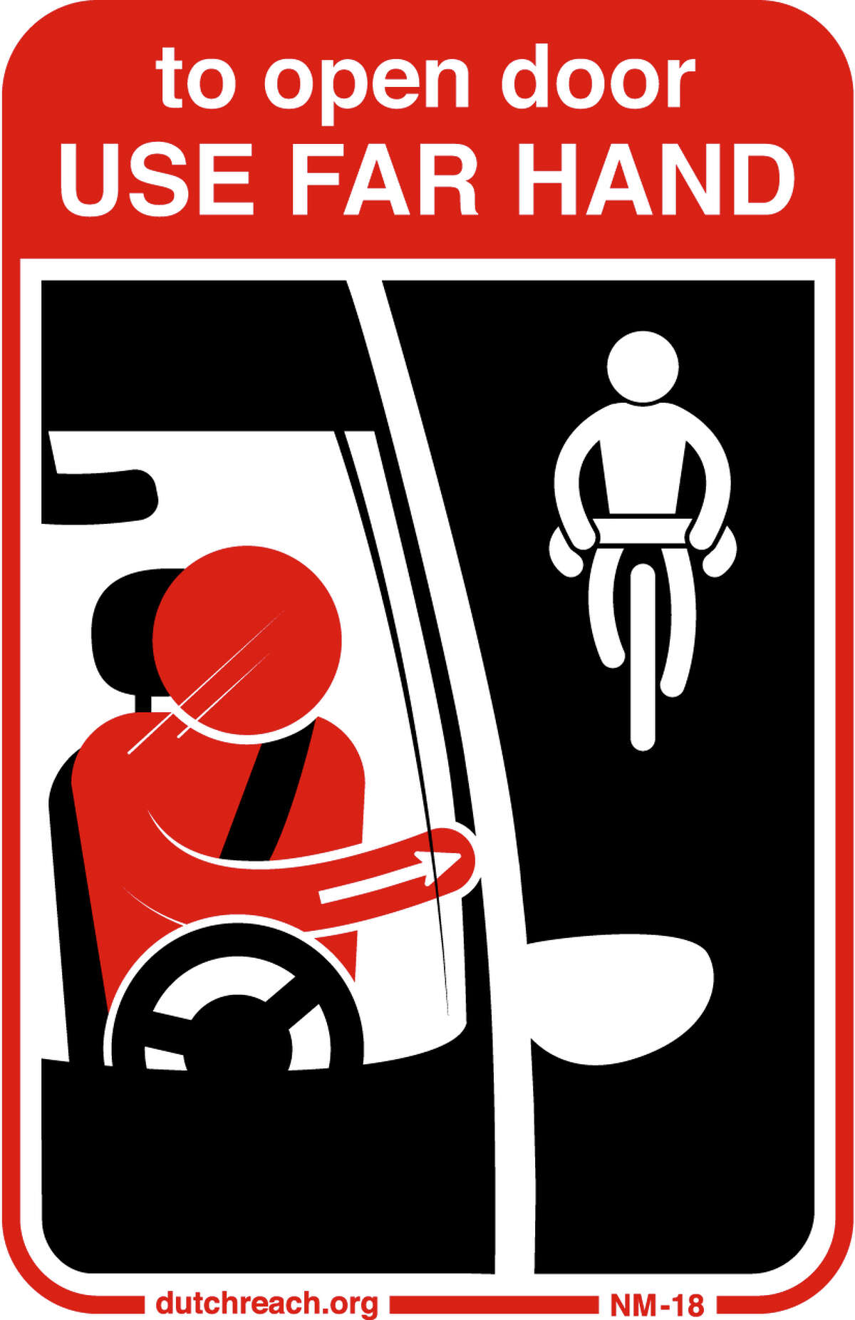 This illustration shows the Dutch Reach method where the driver uses the hand furthest from the car door for opening.