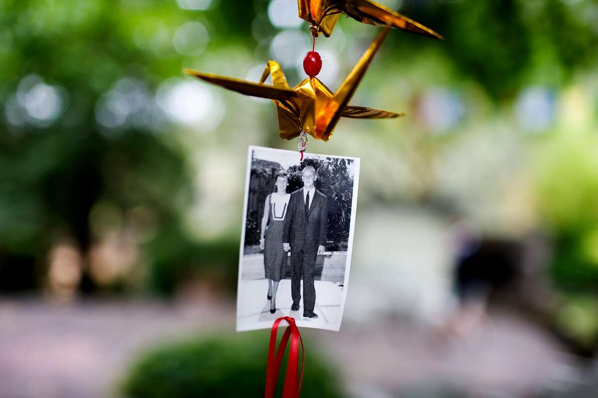 An old photograph of vintner Dick Grace, and his wife, Ann, of Grace Family Vineyards, hangs from a tree in the backyard of their St. Helena home.