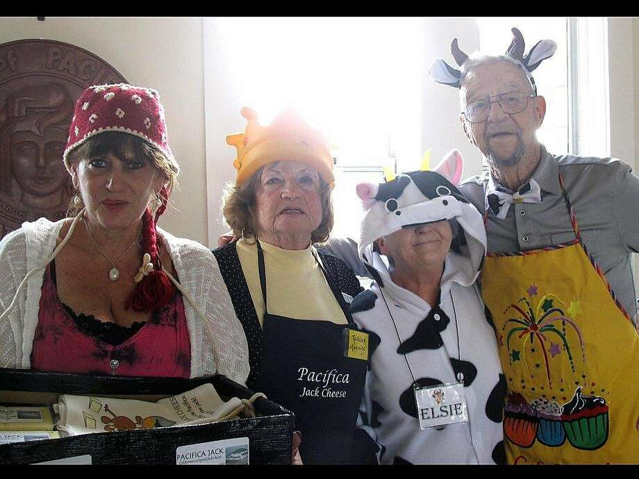 (From left) Curry Habel, Kathleen Manning, Carol Fregly and Marvin Morganti in full regalia, getting ready for the Pacifica Cheese Festival. Photo: Maxine Hines