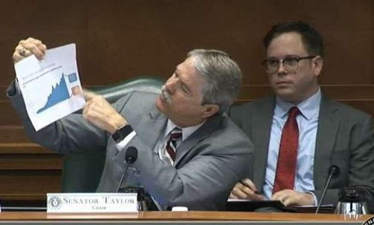 State Sen. Larry Taylor, R-Friendswood, holds up a chart from the Houston Chronicle on Tuesday as he questions managers of the Texas School Land Board.