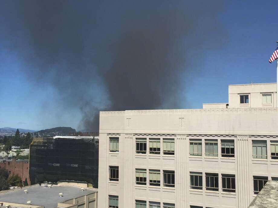 A fire on the 1800 block of Delaware Street sent plumes of black smoke over downtown Berkeley on April 9, 2019. Photo: Jesse Arreguin Via Twitter