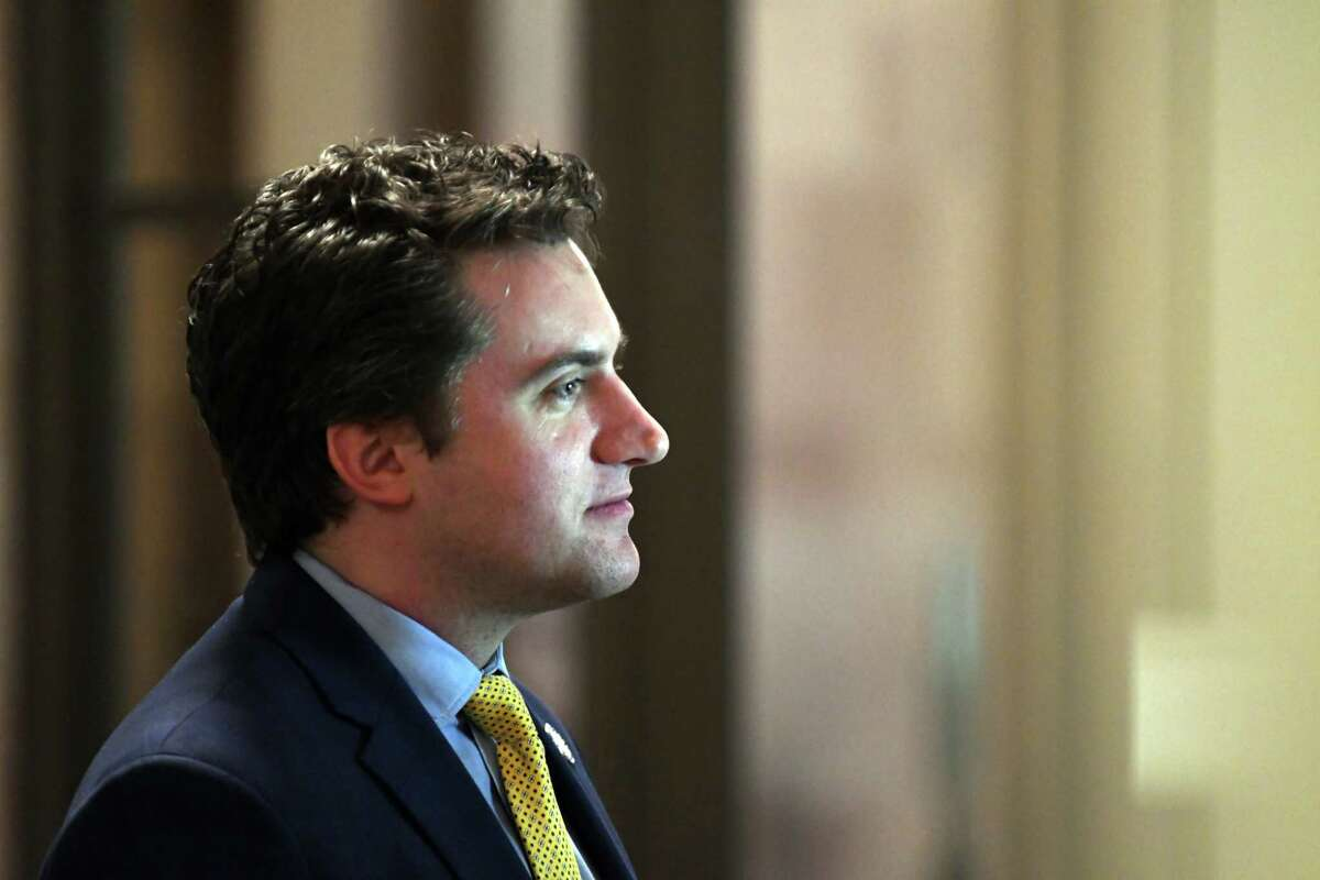 Sen. James Skoufis is interviewed at the Capitol on Monday, April 1, 2019, in Albany, N.Y. (Will Waldron/Times Union)