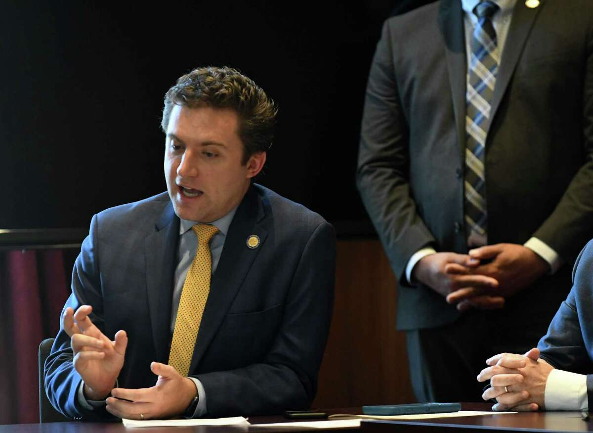 Sen. James Skoufis questions Michael Lynton during a Senate Transportation Committee meeting where Lynton was confirmed to the board of the Metropolitan Transportation Authority on Monday, April 1, 2019, at the Capitol in Albany, N.Y. (Will Waldron/Times Union)