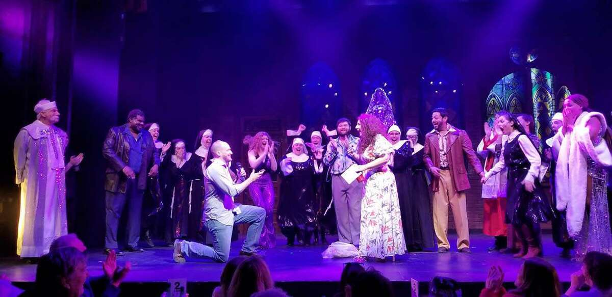 Broadway's Marissa Follo Perry receives a surprise proposal onstage Sunday near the close of the final performance of