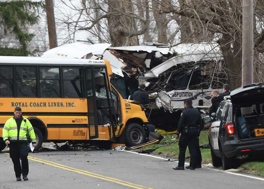 Police, EMS and firefighters respond to a school bus crash on King Street near Brunswick School in Greenwich, Conn. Tuesday, April 9, 2019. Photo: Tyler Sizemore / Hearst Connecticut Media / Greenwich Time