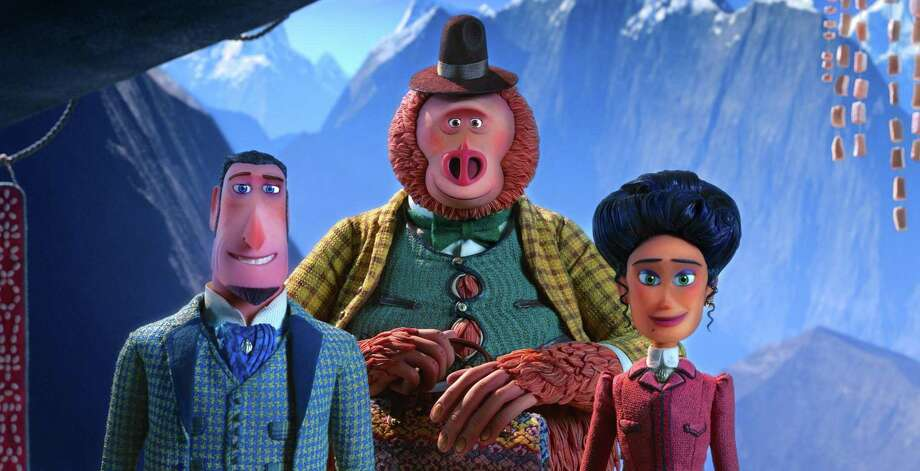 "From left: Sir Lionel Frost (voiced by Hugh Jackman), Mr. Link ( Zach Galifianakis) and Adelina Fortnight (Zoe Saldana) in ""Missing Link,"" the latest from the same Oregon animation studio that created ""Kubo and the Two Strings"" and ""Coraline."" MUST CREDIT: Laika Studios/Annapurna Pictures Photo: Laika Studios / Annapurna Pictures / Laika Studios / Annapurna Pictures / Laika Studios / Annapurna Pictures"