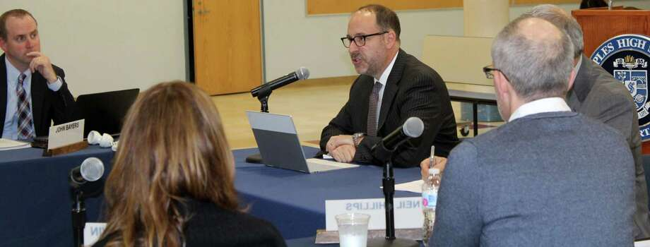 Bedford Middle School Principal Adam Rosen appeared before the Board of Education at the board's April 8 meeting to request upgrades for Bedford in light of the influx of Coleytown Middle School students to Bedford. Photo: Sophie Vaughan / Hearst Connecticut Media / Westport News