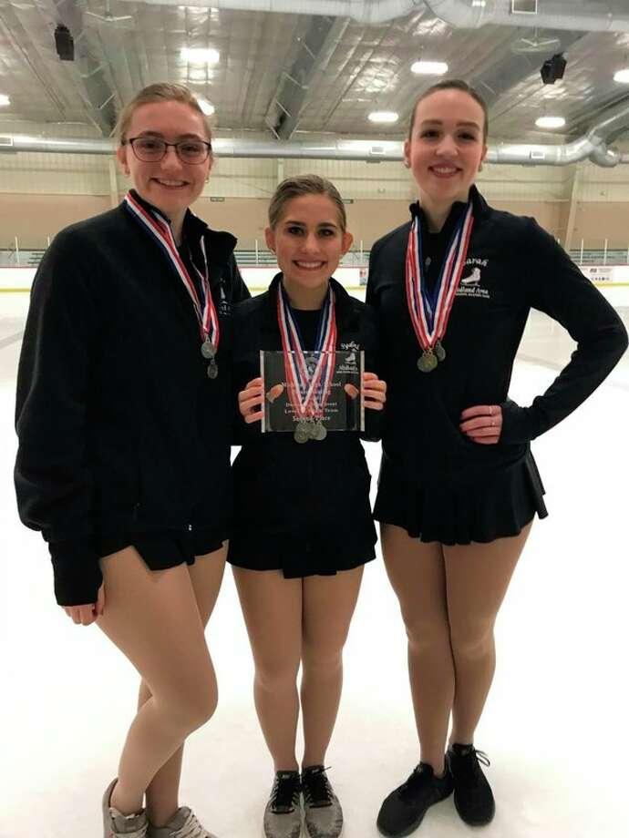 Midland Skating'A' Team is pictured, from left:Hannah Reneaud, Sydni Nikolai, Sarah Pisarczyk.