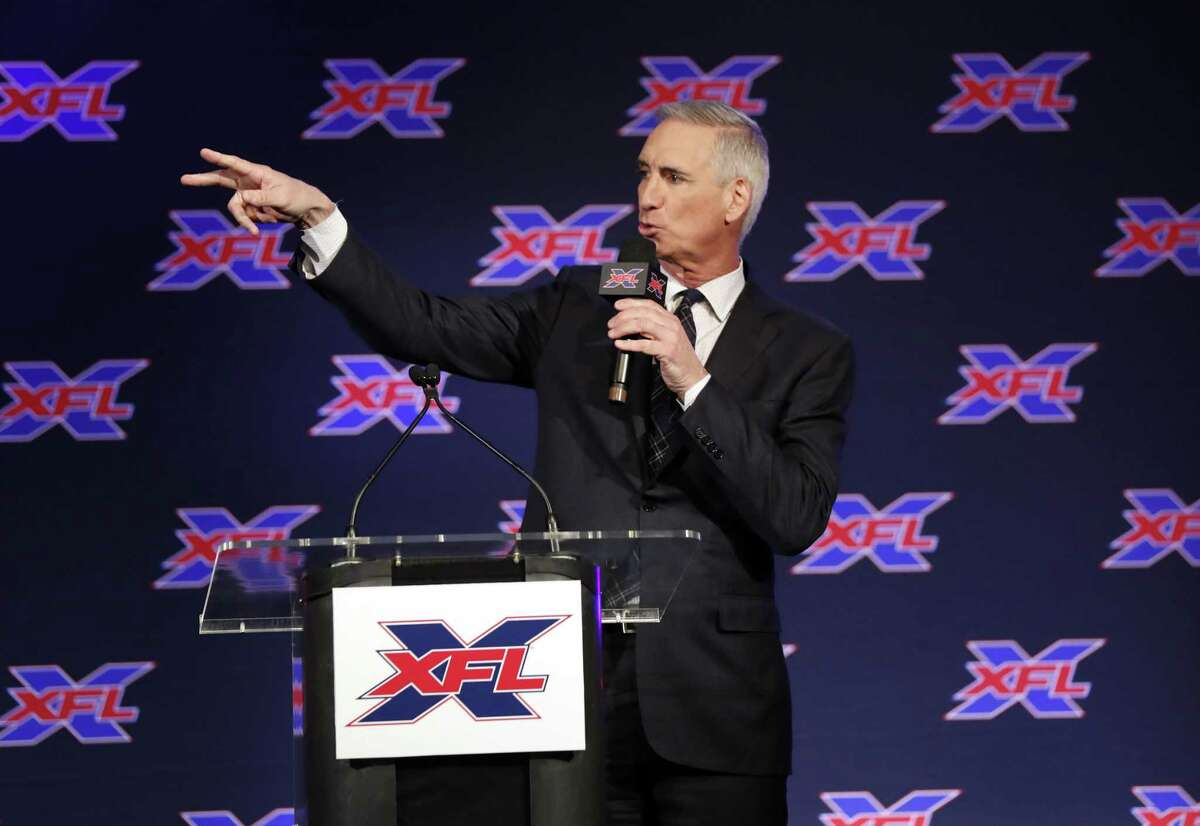 Oliver Luck, XFL commissioner and CEO speaks during a news conference where he introduced Bob Stoops as the new general manager and head football coach of the Dallas XFL team in Arlington, Texas, in February.