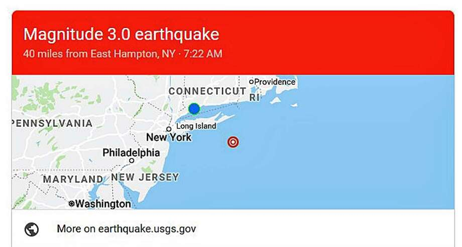 A earthquake was recorded off the coast of Long Island on April 9, 2019. Photo: Contributed Photo / U.S. Geological Survey / Contributed Photo / Connecticut Post Contributed