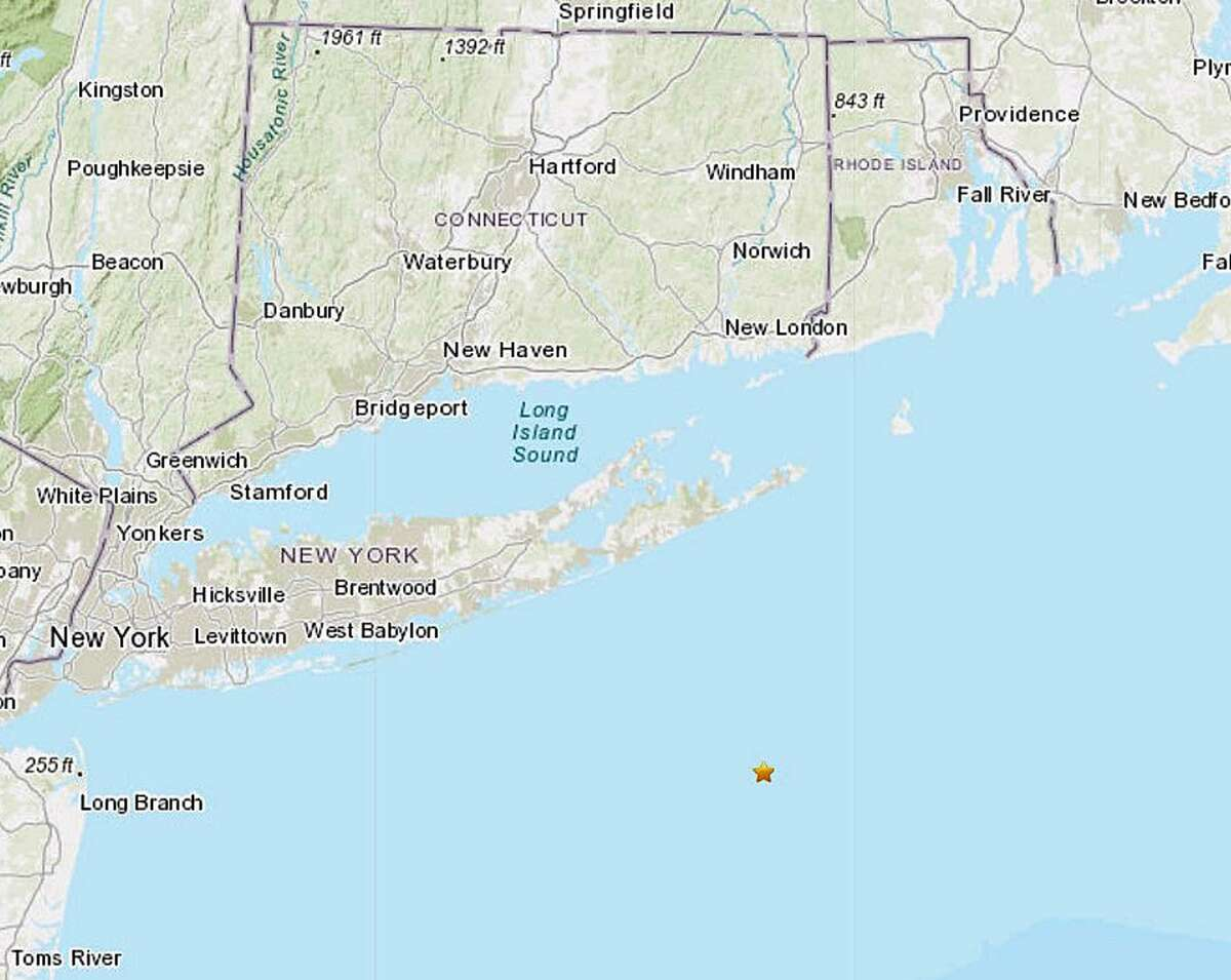 The star in the Atlantic Ocean, off the coast of Long Island, shows where the epicenter of the earthquake recorded on April 9, 2019, was recorded.