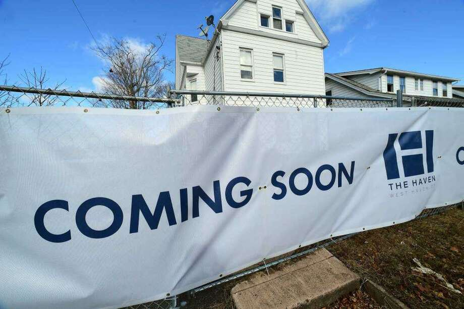 """Banner promising """"The Haven"""" development is coming soon. But residents are wondering if it will ever be built and have many other unanswered questions. Photo: File Photo By Arnold Gold/ Hearst Media Connecticut / File Photo By Arnold Gold/ Hearst Media Connecticut"""