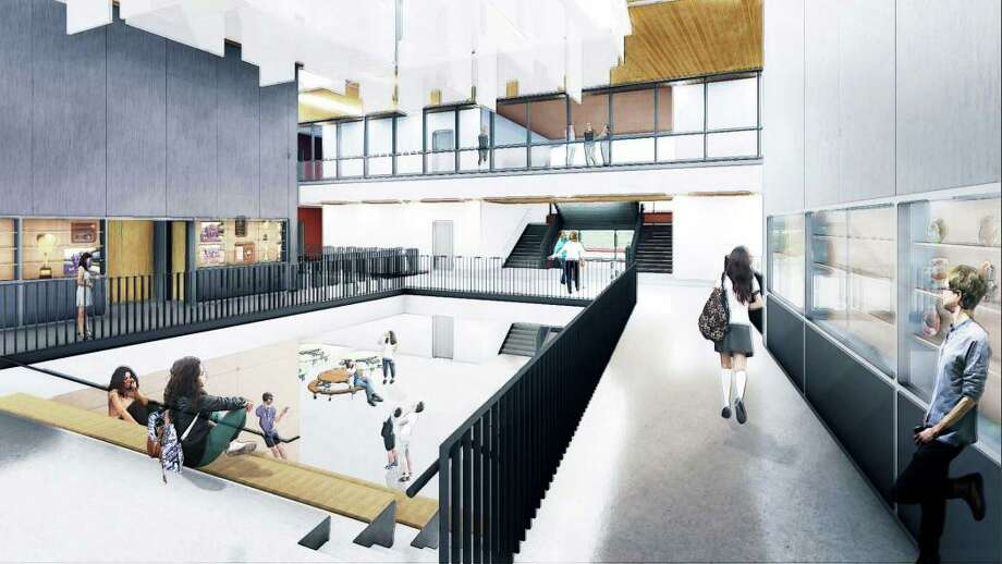 Middletown's Woodrow Wilson Middle School project is on track for construction to begin this June when classes let out for summer break. Phase one includes the demolition of the auditorium and administrative offices, as well as the creation of temporary bus loops and parent drop-off/pick-up areas. Shown here are the architect's renderings of the entry foyer. Photo: Courtesy TSKP Studio