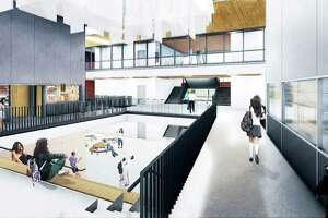 Middletown's Woodrow Wilson Middle School project is on track for construction to begin this June when classes let out for summer break. Phase one includes the demolition of the auditorium and administrative offices, as well as the creation of temporary bus loops and parent drop-off/pick-up areas. Shown here are the architect's renderings of the entry foyer.