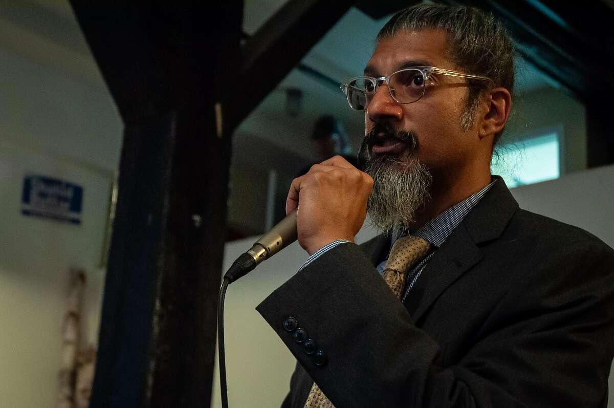 Shahid Buttar speaks at his campaign launch Wednesday April 3, 2019 at The Smoking Nun in San Francisco. Buttar is running for Congress against Nancy Pelosi.