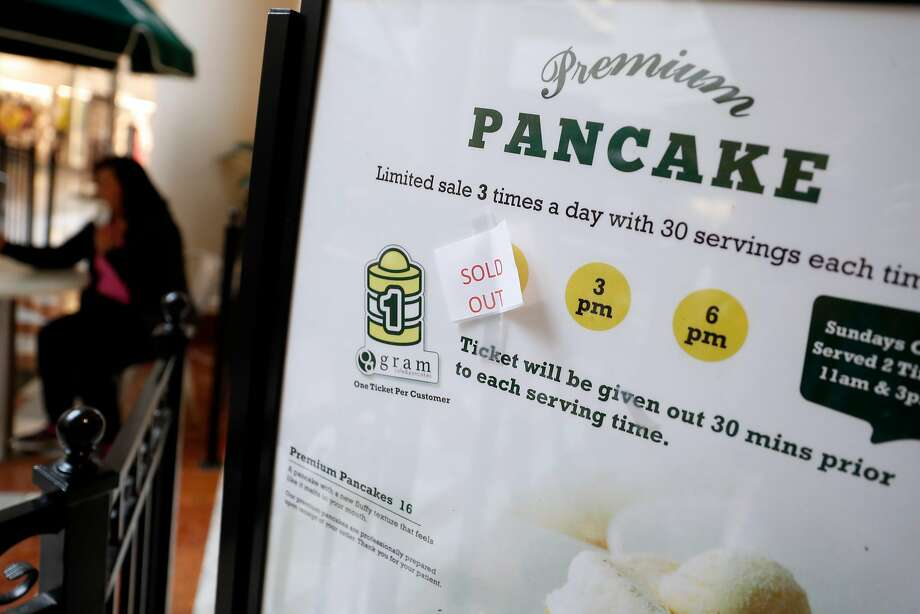 Gram Cafe & Pancakes at Stonestown Galleria only serves its souffle pancakes three times a day, and they sell out quickly. Photo: Scott Strazzante / The Chronicle