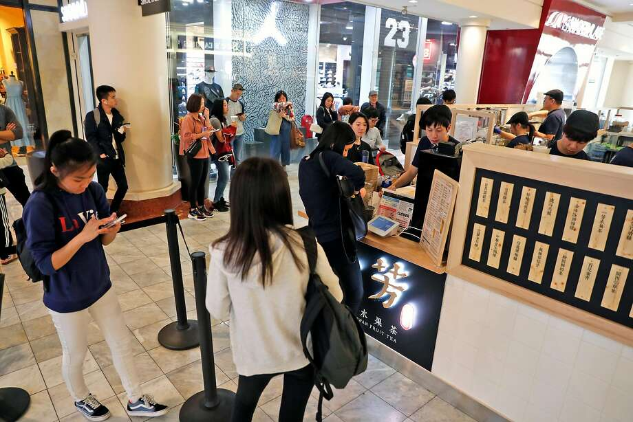 Yifang Taiwan Fruit Tea at Stonestown Galleria opened in December and serves its bubble drinks only four times a day. Photo: Scott Strazzante / The Chronicle