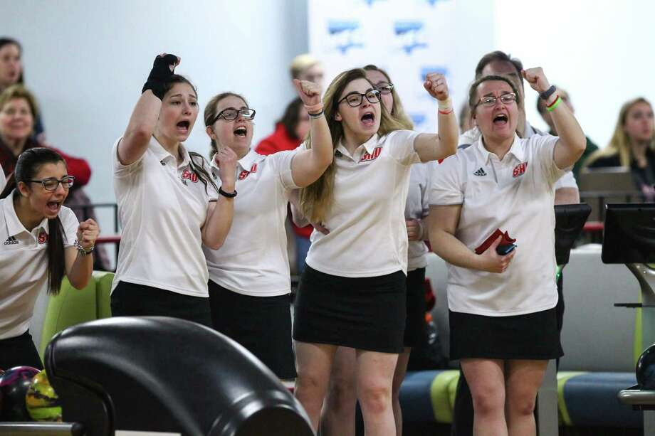 Sacred Heart bowling team beat Caldwell in the opening round of the NCAA tournament. Photo: Sacred Heart Athletics