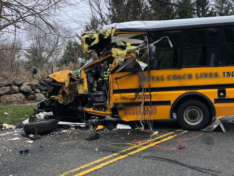 Fire response time to a serious bus collision on upper King Street in April was over seven minutes. Photo: Contributed Photo / Contributed Photo / Greenwich Police Department