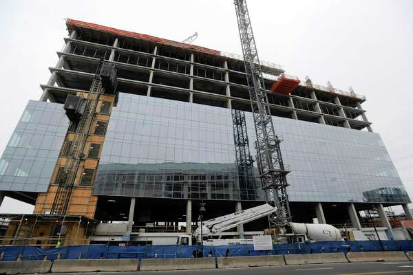 Charter Communications, which will eventually make this 15-story glass tower its headquarters, won the right on April 8, 2019, to expand and build a second, nine-story building connected by a three-story lobby at the Gateway site, just south of Interstate 95 in Stamford's South End.
