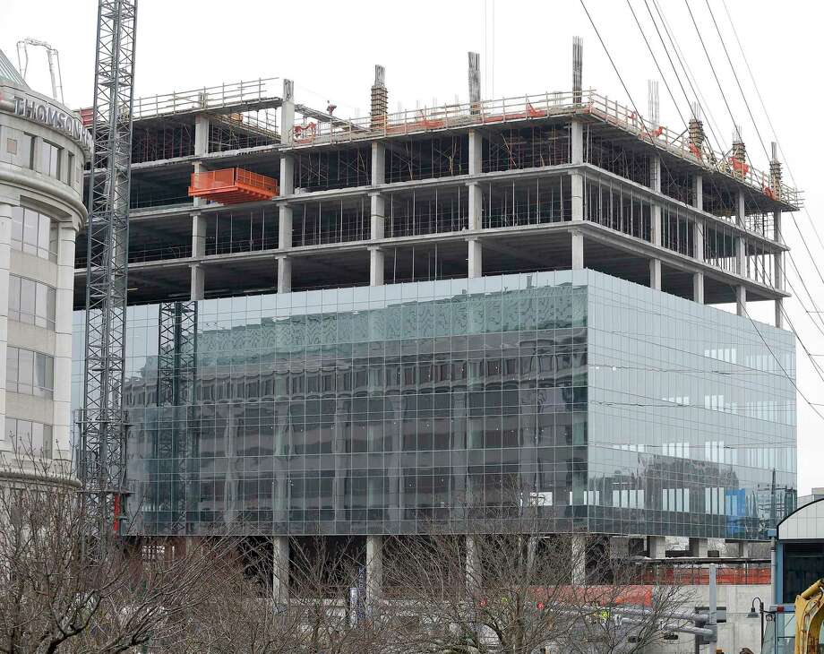 Charter Communications, which will eventually make this 15-story glass tower its headquarters, photograph on Tuesday, April 9, 2019 , won the right on Monday, April 8, 2019, to expand and build a second, nine-story building connected by a three-story lobby at the Gateway site, just south of Interstate 95 in Stamford's South End. Photo: Matthew Brown / Hearst Connecticut Media / Stamford Advocate