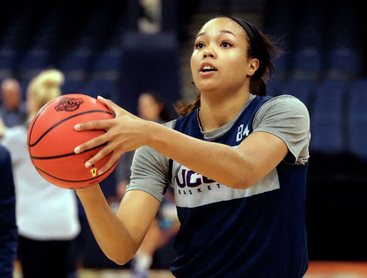 Connecticut forward Napheesa Collier shoots during a practice session for the women's Final Four NCAA college basketball semifinal game Thursday, April 4, 2019, in Tampa, Fla. UConn faces Notre Dame on Friday.