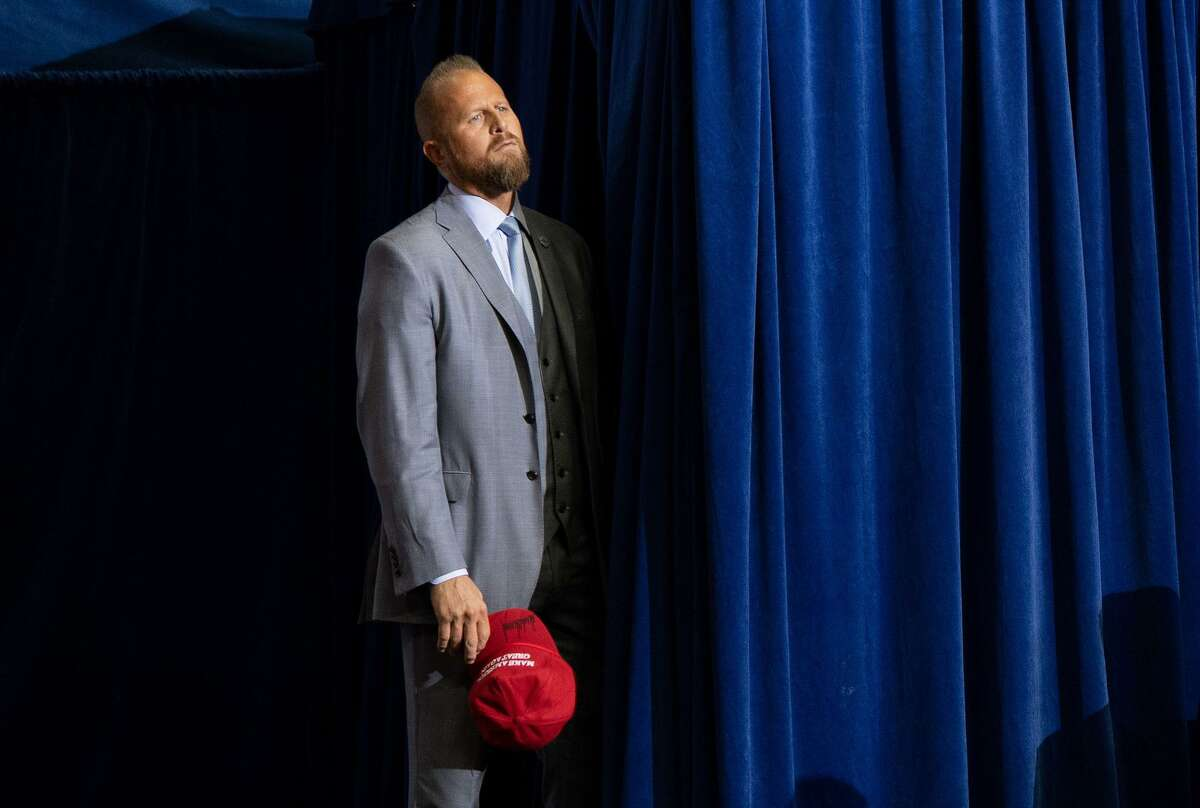 Brad Parscale, campaign manager for US President Donald Trump's 2020 reelection campaign, attends a campaign rally at the Toyota Center in Houston, Texas, on October 22, 2018. (Photo by SAUL LOEB / AFP)SAUL LOEB/AFP/Getty Images