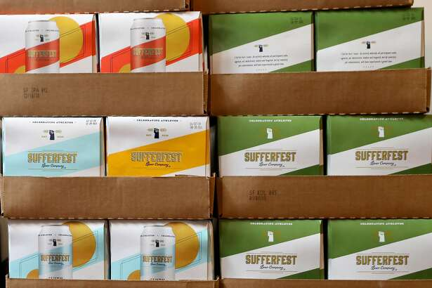 Cases of beer at Sufferfest headquarters at Union St. on Monday, April 8, 2019, in San Francisco, Calif.